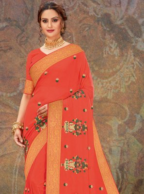 Orange Faux Chiffon Classic Designer Saree