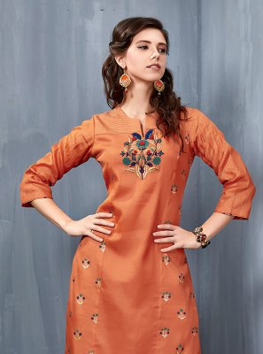 Orange Festival Casual Kurti