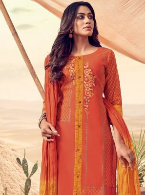 Orange Festival Churidar Salwar Kameez