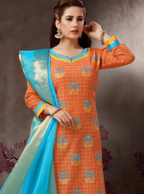 Orange Festival Cotton Trendy Churidar Salwar Suit