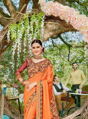 Orange Festival Designer Saree