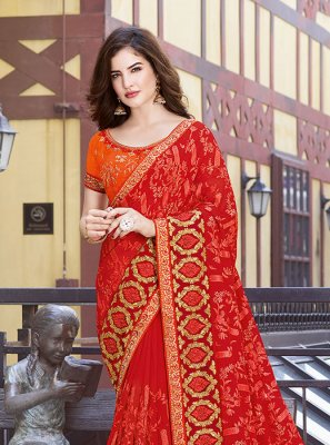 Orange Festival Faux Georgette Classic Designer Saree