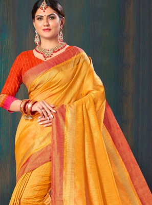 Orange Festival Jute Silk Saree