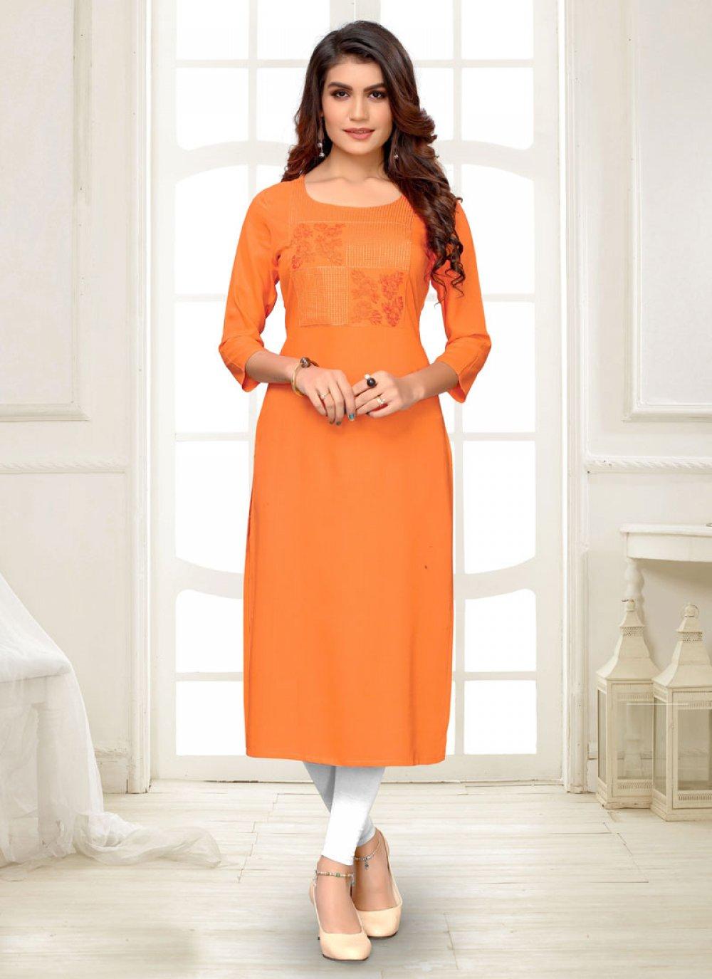 Orange Festival Rayon Party Wear Kurti