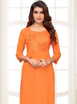 Orange Festival Rayon Party Wear Kurti