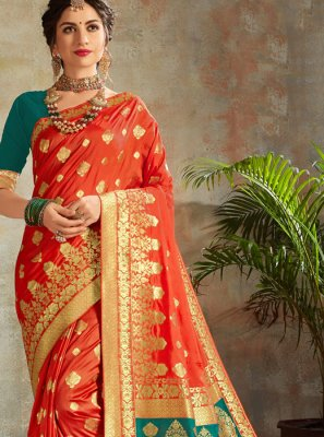Orange Festival Traditional Saree