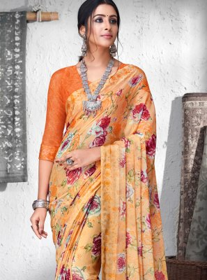 Orange Floral Print Contemporary Saree