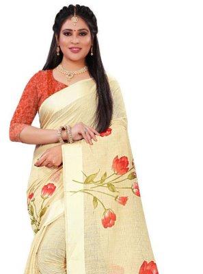 Orange Floral Print Saree