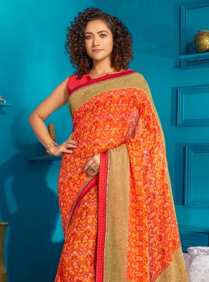 Orange Georgette Casual Contemporary Saree