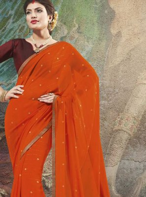 Orange Georgette Classic Designer Saree
