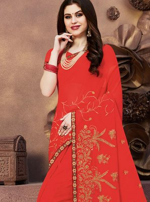 Orange Georgette Embroidered Designer Saree