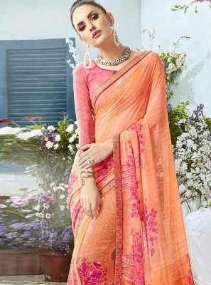 Orange Georgette Festival Classic Designer Saree