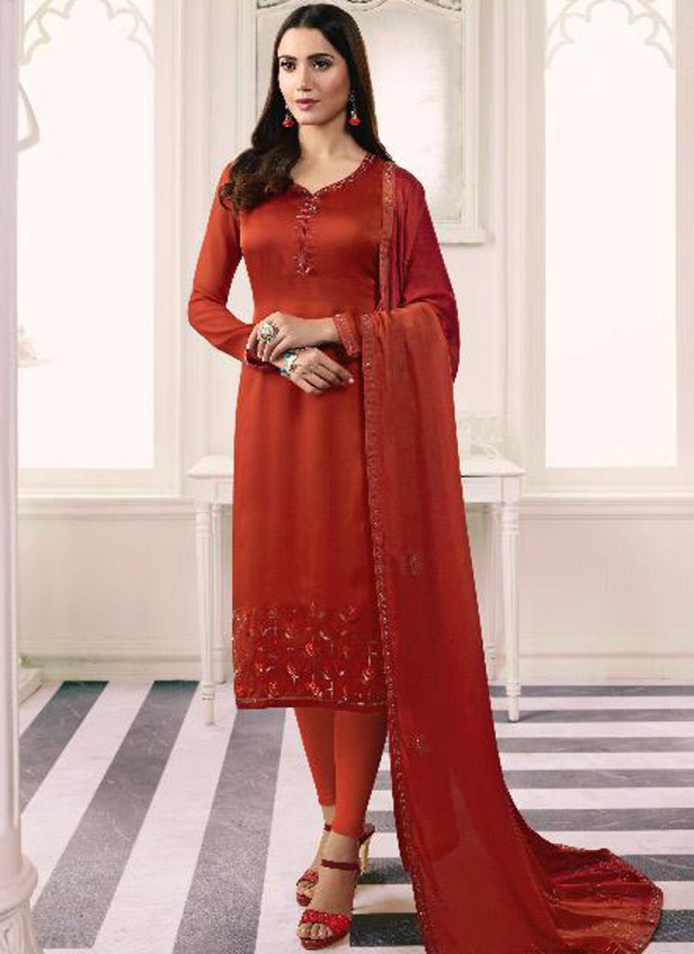 Orange Georgette Satin Churidar Salwar Suit