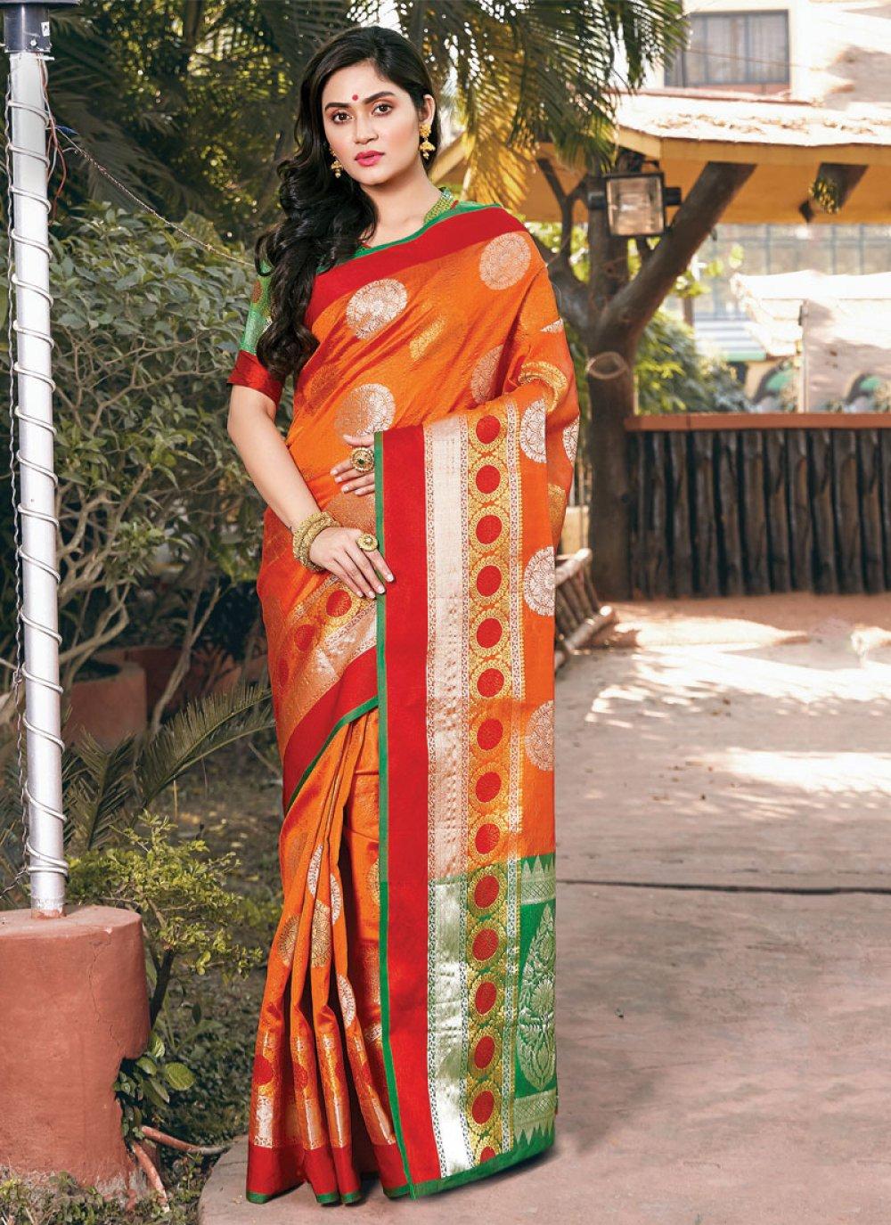 Orange Handloom silk Casual Saree
