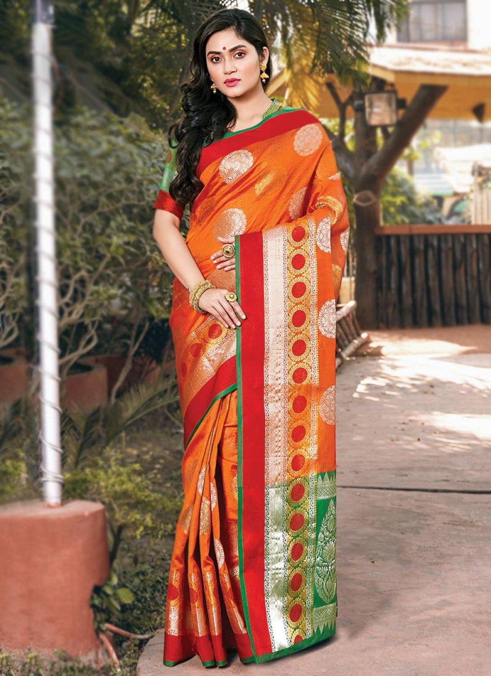 Orange Handloom silk Festival Traditional Saree