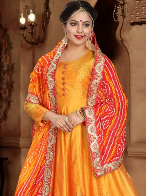 Orange Handwork Ceremonial Readymade Gown