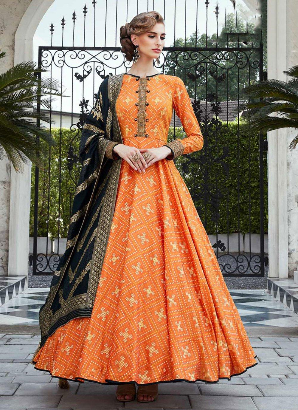Orange Handwork Silk Floor Length Trendy Gown