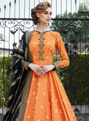 Orange Handwork Silk Floor Length Trendy Gown