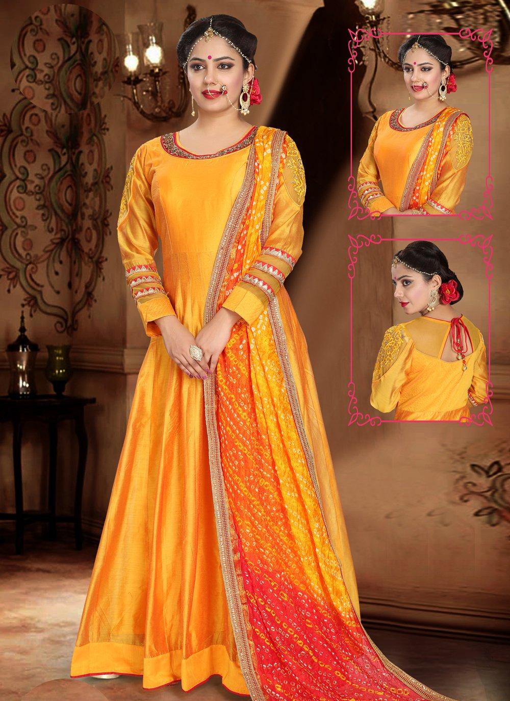 Orange Handwork Trendy Gown