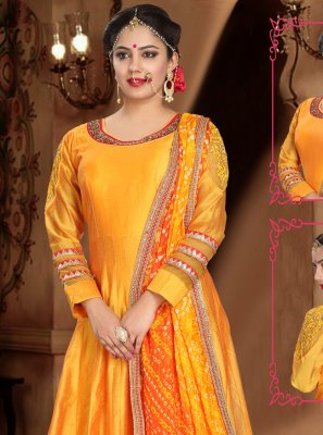 Orange Handwork Trendy Gown