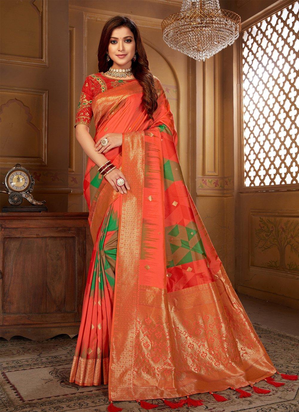 Orange Jacquard Silk Classic Designer Saree