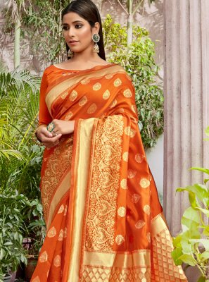 Orange Jacquard Silk Traditional Saree
