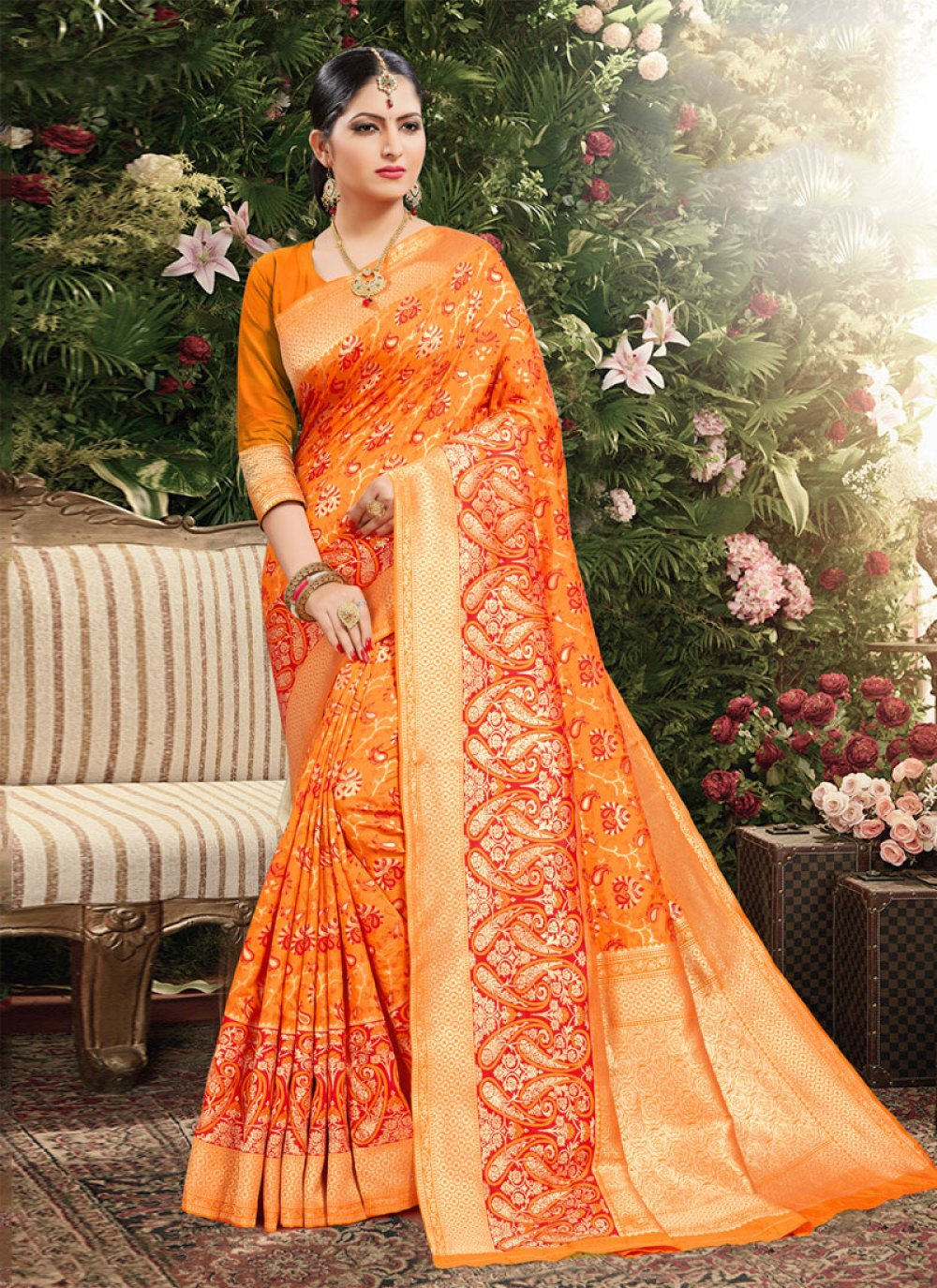 Orange Jacquard Weaving Classic Saree