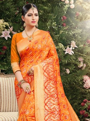 Orange Jacquard Weaving Classic Saree
