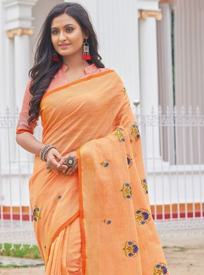 Orange Linen Casual Saree