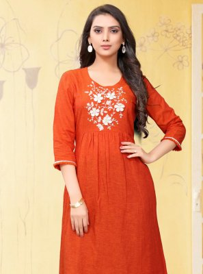 Orange Linen Embroidered Designer Kurti
