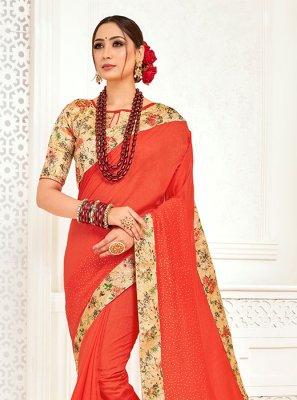 Orange Mehndi Designer Saree