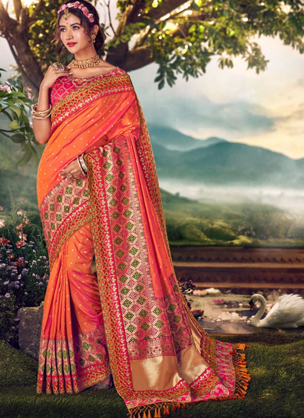 Orange Party Banarasi Silk Traditional Saree