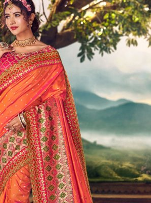 Orange Party Banarasi Silk Traditional Saree