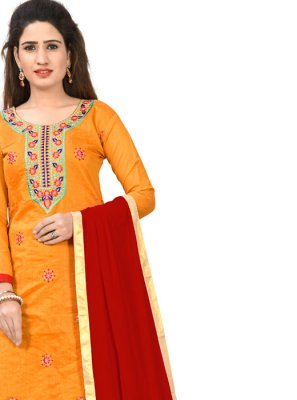 Orange Party Chanderi Cotton Designer Salwar Kameez