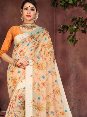 Orange Party Cotton Silk Designer Saree