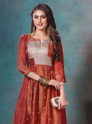 Orange Party Designer Kurti