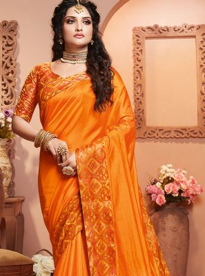 Orange Party Designer Saree