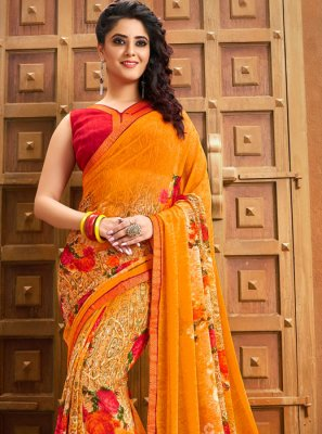 Orange Party Georgette Printed Saree