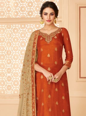 Orange Party Jacquard Trendy Salwar Kameez