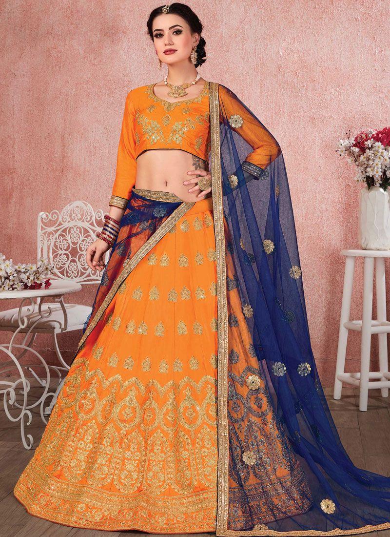 Orange Party Satin Silk Trendy A Line Lehenga Choli
