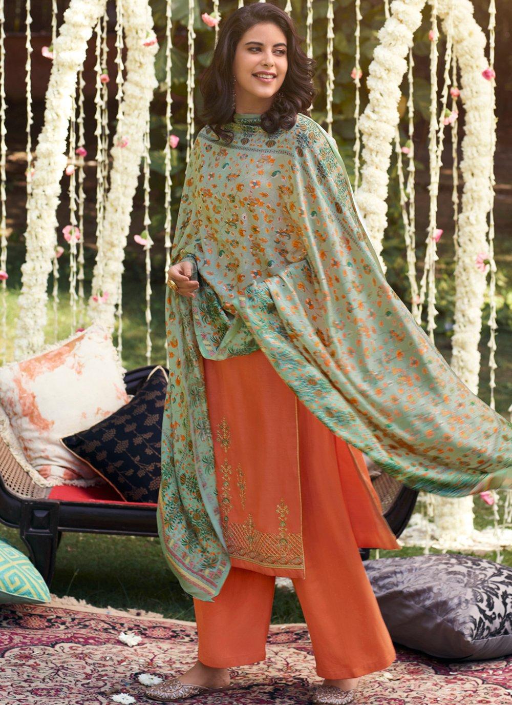Orange Party Trendy Palazzo Salwar Suit