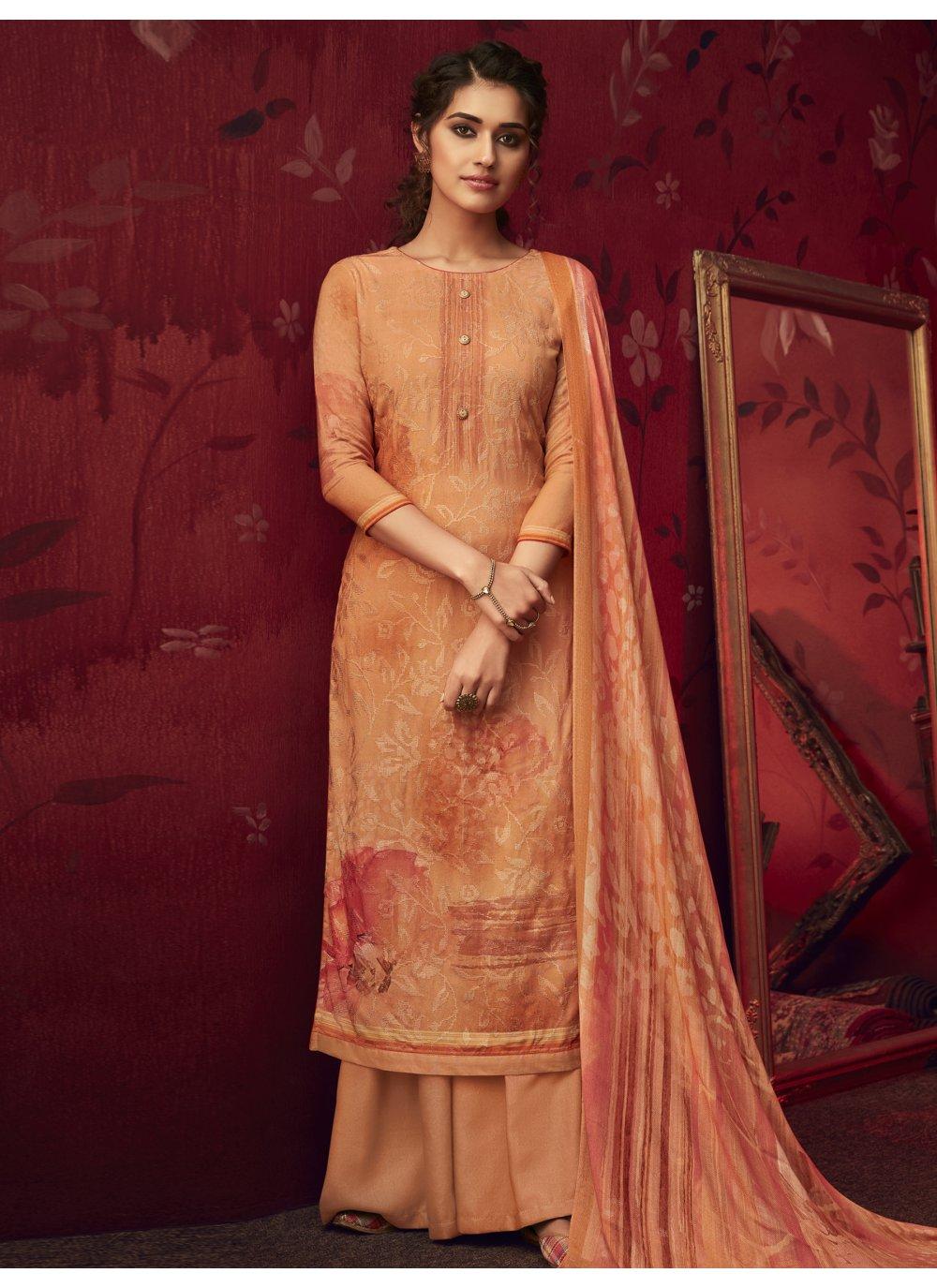 Orange Pashmina Palazzo Designer Salwar Kameez