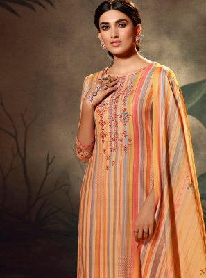 Orange Pashmina Palazzo Salwar Suit