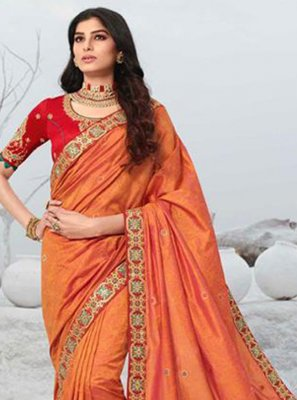 Orange Patch Border Silk Designer Saree