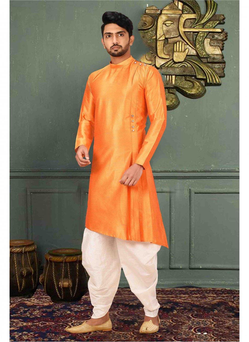 Orange Plain Ceremonial Kurta Pyjama