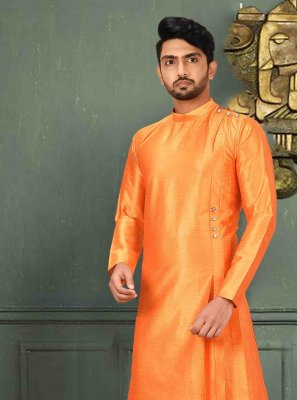Orange Plain Ceremonial Kurta Pyjama