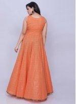 Orange Plain Cotton Party Wear Kurti
