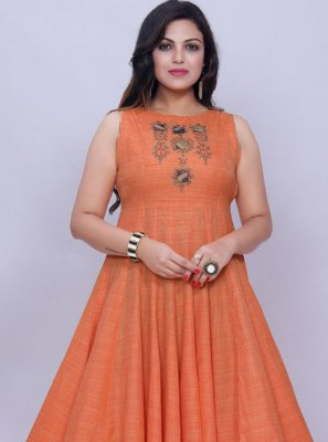 Orange Plain Cotton Party Wear Kurti