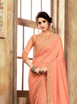 Orange Poly Rayon Silk Saree