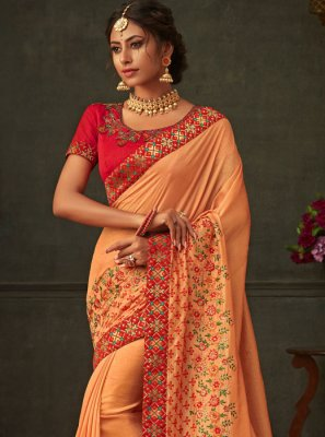 Orange Poly Silk Ceremonial Classic Saree